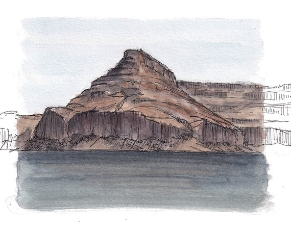LAKE POWELL I - Arizona, Utah, Glen Canyon, Sandstone Rock Formation, Desert Landscape Watercolor Painting, Drawing, Art, Drawn There