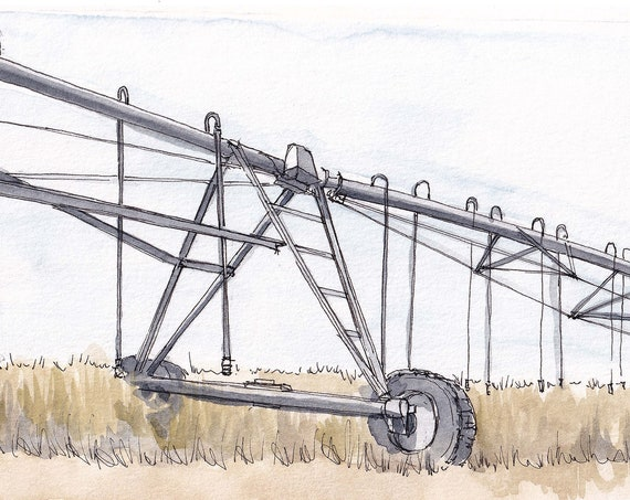 CENTER PIVOT IRRIGATION - Farming, Water, Crops, Field, Agriculture, Drawing, Plein Air Watercolor Painting, Sketchbook, Art, Drawn There