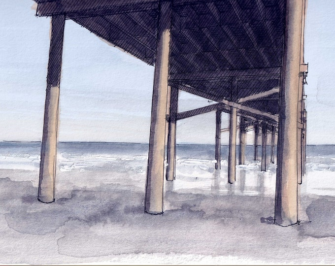 SOUTH PADRE ISLAND - Beach Pier, Ocean, Sunset, Waves, Gulf of Mexico, Plein Air Ink and Watercolor Painting, Drawing, Art, Drawn There