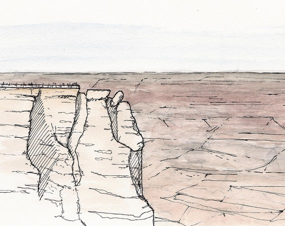 GRAND CANYON National Park - Mather Point, Ink Drawing, Watercolor Painting, Landscape, Overlook, Sketchbook, Art, Drawn There