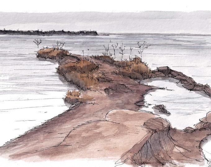 BUFFALO CREEK RESERVOIR, Iowa Park, Wichita Falls, Texas - Fishing Lake, Plein Air Watercolor Painting, Drawing, Sketchbook Art, Drawn There