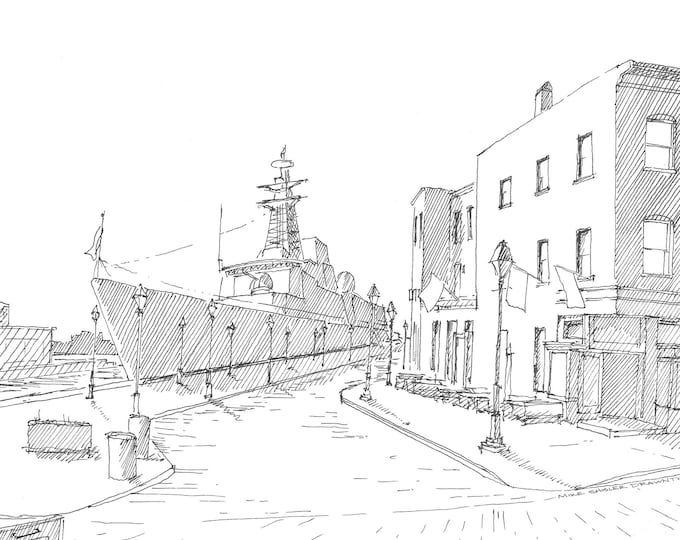 BALTIMORE FLEET WEEK - Navy Ship, Admirals Cup, Fells Point, Baltimore, Maryland, Cobblestone, Drawing, Sketchbook, Ink, Art, Drawn There