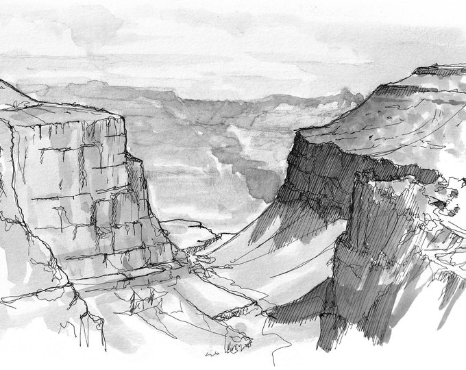 GRAND CANYON National Park - Lower Bright Angel Trail, Pen and Ink Plein Air Landscape Painting, Sketchbook, Art, Drawn There