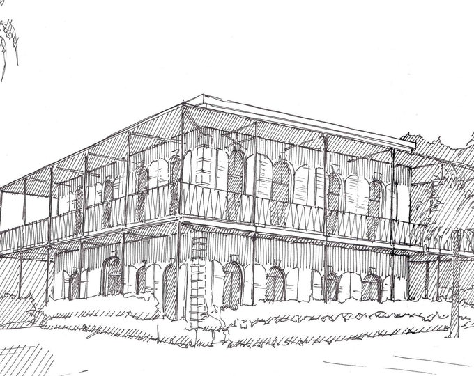 ERNEST HEMINGWAY HOUSE - Key West, Florida, Architecture, Drawing, Pen and Ink, Line Drawing, Sketchbook, Drawn There