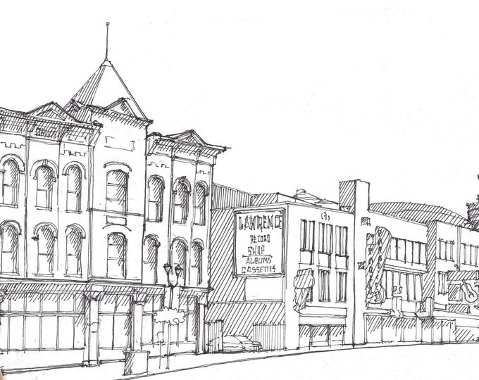 NASHVILLE MUSIC ROW -  Pen and Ink, Drawing, Art Print, Tennessee, Architecture, Urban Sketcher, Country Music, Drawn There