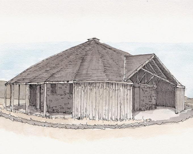 FRENCH ROUND BARN - Historic Site, Oregon, Rustic, Horse Training, Architecture, Drawing, Watercolor Painting, Sketchbook, Art, Drawn There