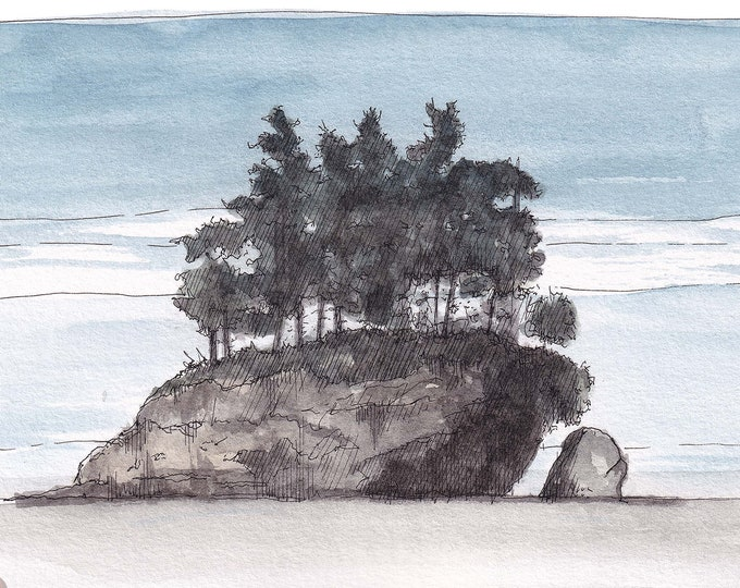 SALT CREEK ISLAND - Sea Stack, Ocean, Rock Formation, Pacific Coast, pnw, Drawing, Watercolor Painting, Art, Plein Air, Drawn There
