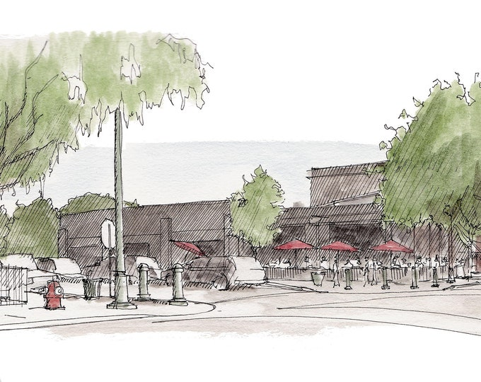 BOISE HYDE PARK - Streetscape, Architecture, Idaho, Main Street, Drawing, Pen and Ink, Painting, Watercolor, Sketchbook, Art, Drawn There