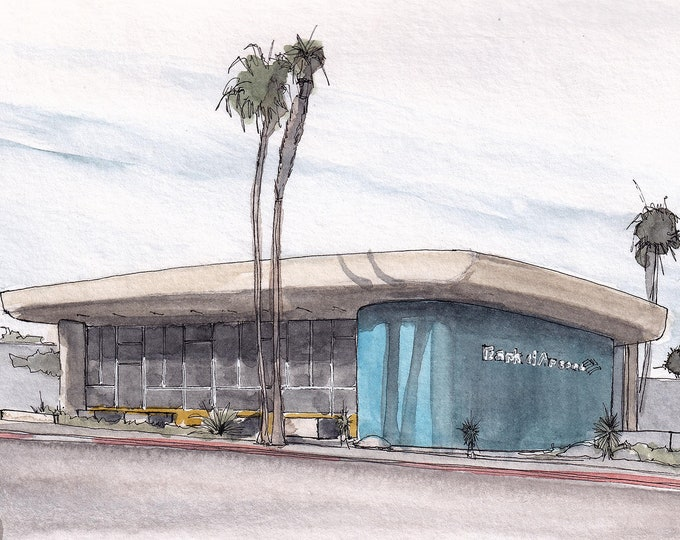 PALM SPRINGS ARCHITECTURE - Bank of America, Mid Century Modern Design, Plein Air Watercolor Painting, Drawing, Sketchbook, Art, Drawn There