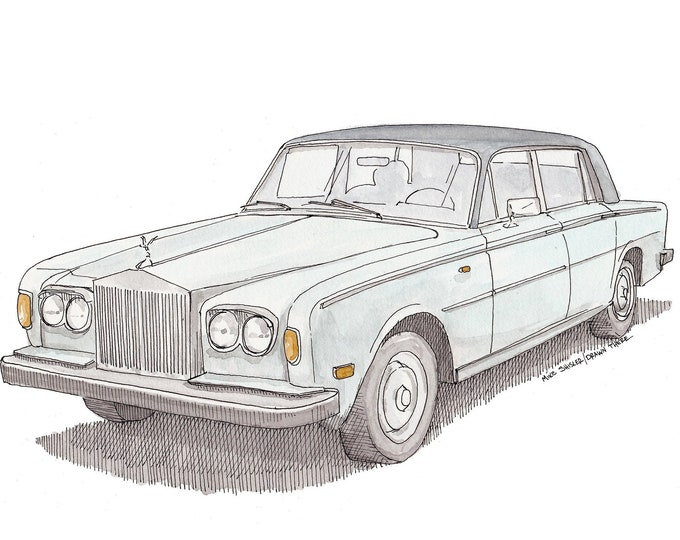 ROLLS ROYCE CLASSIC Car - Ink Drawing, Watercolor Painting, Sketchbook, Art, Artist, Drawn There