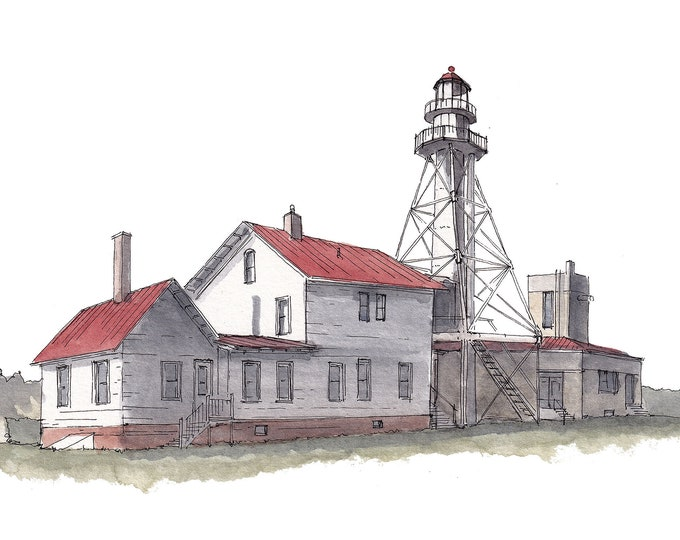 WHITEFISH POINT LIGHTHOUSE - Michigan Upper Peninsula, Shipwreck Museum, Plein Air Ink and Watercolor Painting, Drawing, Art, Drawn There