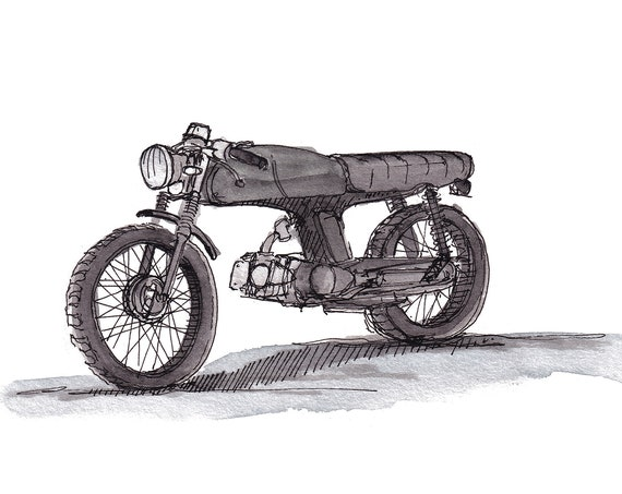HONDA SS50 MOTORCYCLE 1972 - Vintage, Classic, Bike, Streetbike, Cafe Racer, Drawing, Watercolor, Painting, Sketchbook, Art, Drawn There