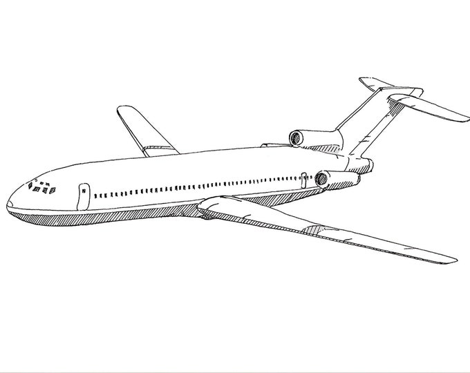 BOEING 727 AIRPLANE - Jet, Commercial Airliner, Fly, Travel, Flight, Ink Drawing, Line Drawing, Art, Print, Black and White, Drawn There