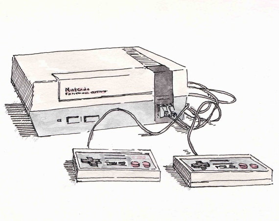 NINTENDO ENTERTAINMENT SYSTEM - 8 bit, Video Games, nes, Gaming, Watercolor, Painting, Sketch, Pen and Ink, Drawing, Drawn There
