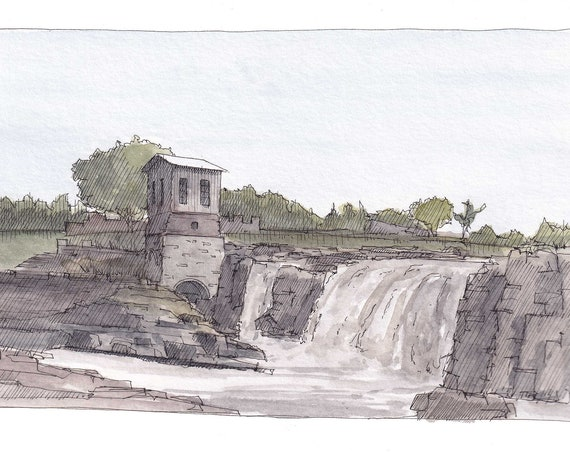 SIOUX FALLS, South Dakota - Waterfall, Falls, River, Rocks, Mill, Drawing, Ink and Watercolor Plein Air Landscape Painting, Art, Drawn There