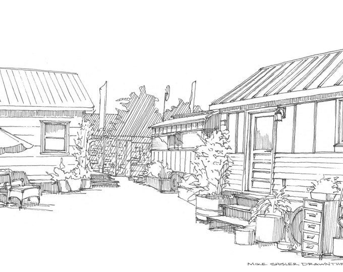 TINY HOUSE HOTEL - Portland, Oregon, Trailers, Handmade, Architecture, Pen and Ink, Drawing, Sketchbook, Art, Drawn There