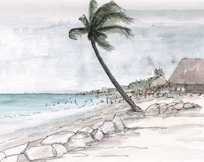 PLAYA DEL CARMEN - Palm Tree, Beach, Ocean, Blue Water, Clouds, Windy, Tropical, Drawing, Watercolor, Sketchbook, Art, Print, Drawn There