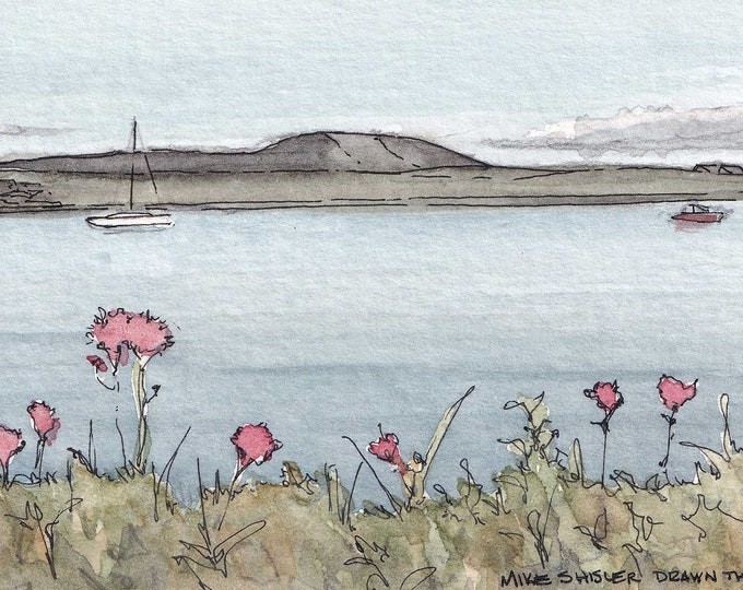 ROSSES POINT LAKE - Silgo, Ireland, Ink and Watercolor Landscape Painting, Drawing, Art, Flowers, Sailboat, Hills, Drawn There