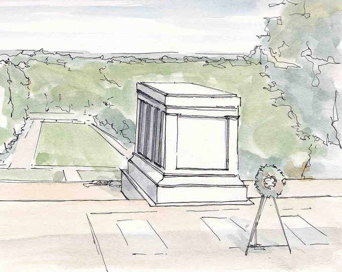 TOMB of the UNKNOWN SOLDIER - Arlington National Cemetery, Military, Washington dc, Drawing, Pen and Ink, Watercolor, Painting, Drawn There