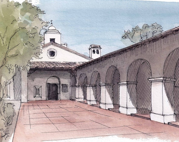 JUNIPERO SERRA MUSEUM - Old Town San Diego Spanish Mission Architecture, Watercolor Plein Air Painting, Drawing, Art Print, Drawn There