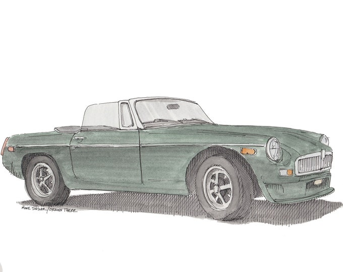 MGB ROADSTER - Classic Car, Vintage, Convertible, Ink Drawing, Watercolor Painting, Sketchbook, Art, Drawn There