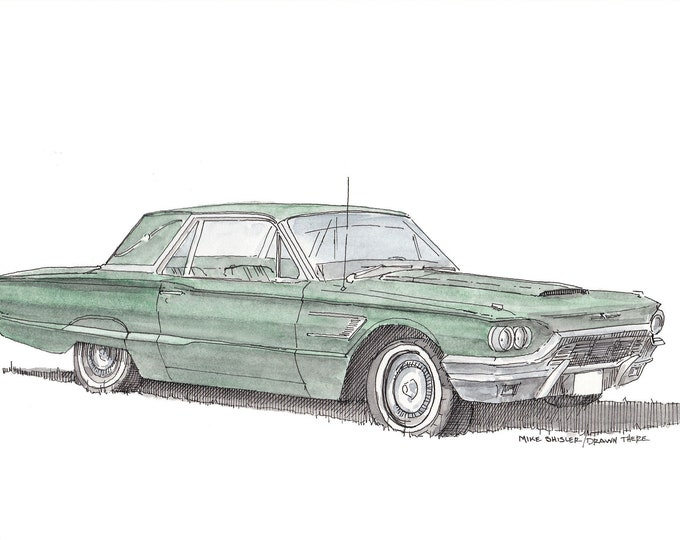 THUNDERBIRD CLASSIC CAR - Ink Drawing, Watercolor Painting, Sketch, Sketchbook, Art, Drawn There