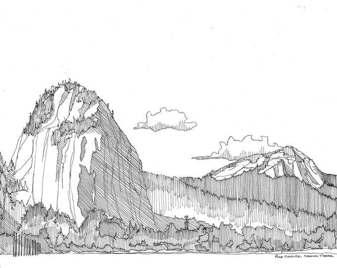 BEACON ROCK Columbia River Gorge - Washington State, Landscape, Mountain, Trees, River, Drawing, Pen and Ink, Sketchbook, Drawn There, Art