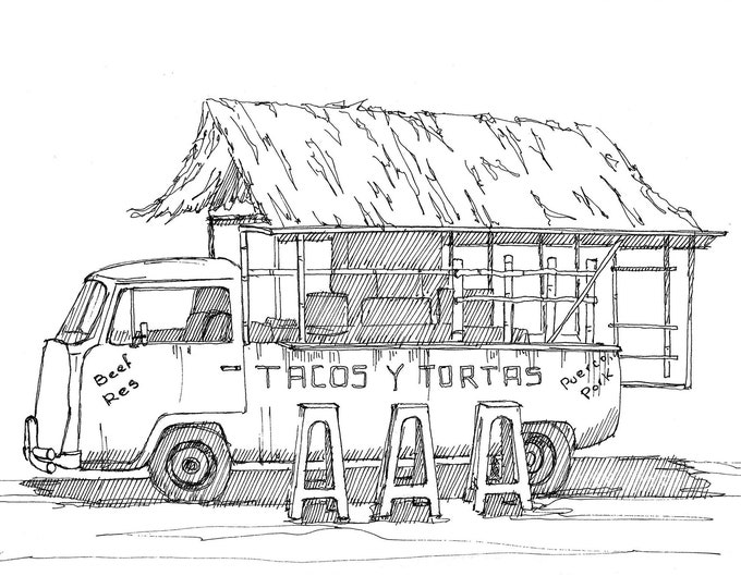 MEXICAN TACO VAN - Food Truck, Tacos, Thatched Roof, vw Kombi, Volkswagen, Ink Drawing, Sketchbook, Art, Print, Drawn There