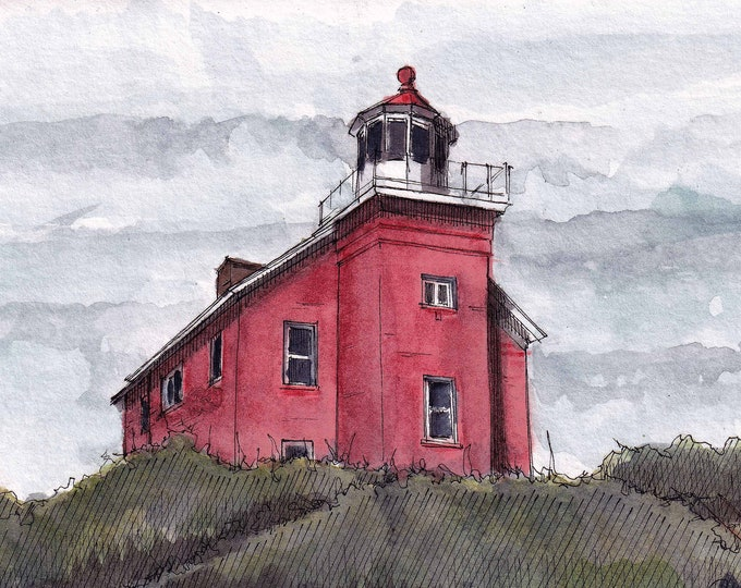 MARQUETTE LIGHTHOUSE - Michigan, Lake Superior, Nautical, Urbansketcher, Plein Air Ink and Watercolor Painting, Drawing, Art, Drawn There