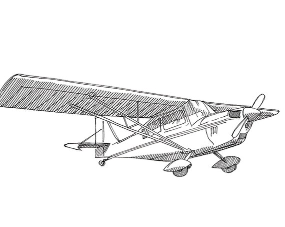 DECATHALON SMALL AIRPLANE - Plane, Fly, Travel, Flight, Ink Drawing, Line Drawing, Art, Print, Drawn There