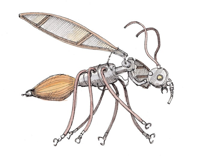 MECHANICAL INSECT - Neon Art, Found Objects, Mosquito, Fly, Hornet, Wasp, Drawing, Watercolor, Sketchbook, Art, Drawn There