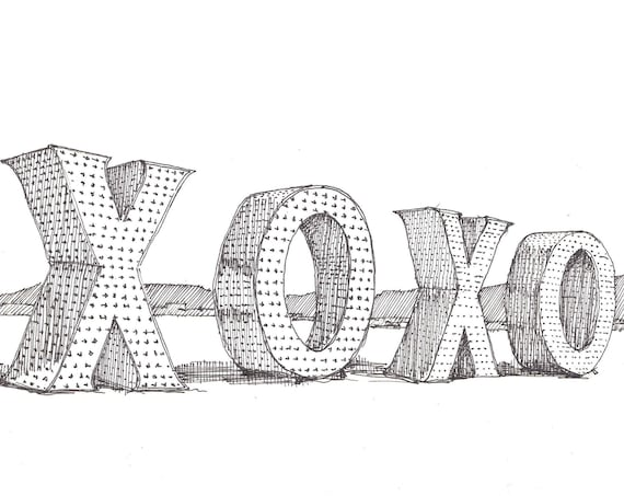 BLACK ROCK CITY - xoxo giant letters, Sculpture, Playa, Word Art, Drawing, Pen and Ink, Sketchbook. Drawn There