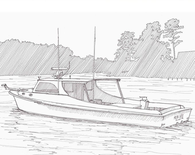 CHESAPEAKE CRABBING BOAT - Wooden Deadrise, Maryland, Eastern Shore, Bay, Ink Drawing, Sketch, Pen and Ink, Drawing, Sketchbook, Drawn There