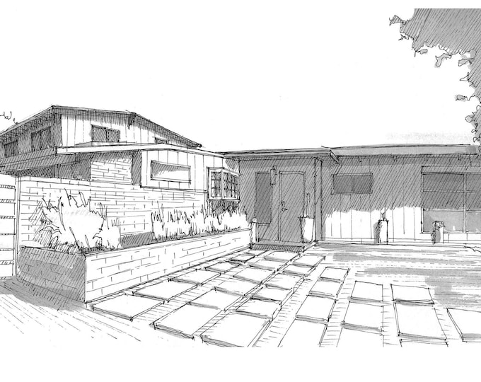 CALIFORNIA MID-CENTURY Architecture - Newport Beach, Costa Mesa, House, Design, Pen and Ink, Drawing, Sketchbook, Drawn There