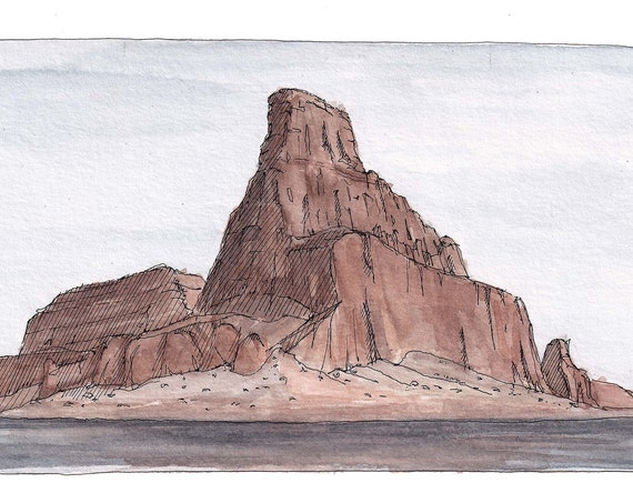 LAKE POWELL III - Arizona, Utah, Glen Canyon, Sandstone Rock Formation, Desert Landscape Watercolor Painting, Drawing, Art, Drawn There