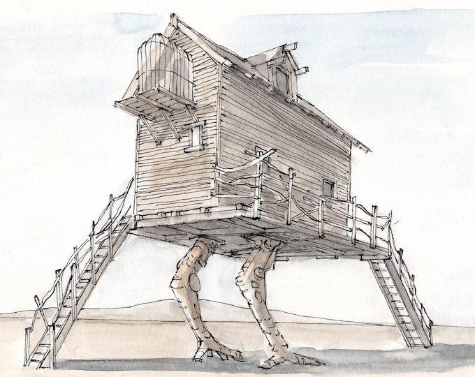 BLACK ROCK CITY - Baba Yaga House, Interactive Art, Architecture, Drawing, Pen and Ink, Watercolor, Painting, Sketchbook, Art, Drawn There