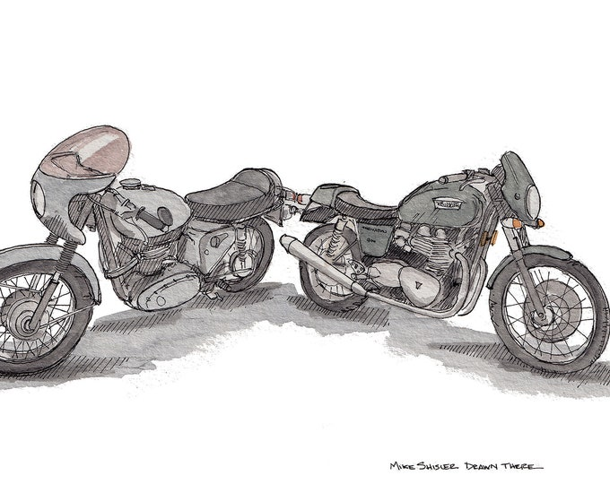 VINTAGE MOTORCYCLES - Triumph Thruxton, Honda, Streetbike, Cafe Racer, Drawing, Watercolor, Painting, Sketchbook, Art, Drawn There