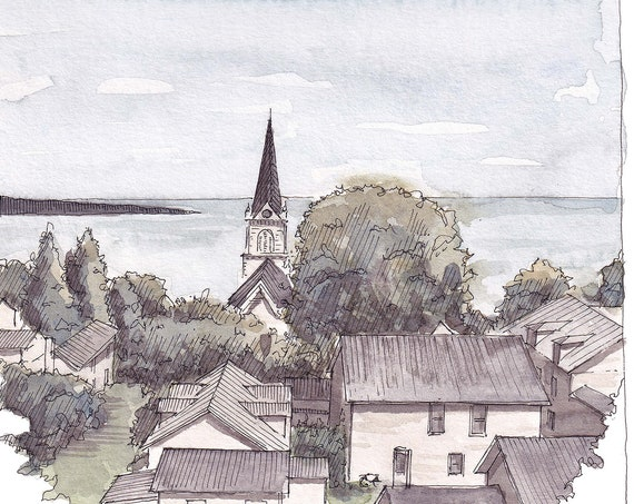 MACKINAC ISLAND ROOFTOPS - Michigan, Landscape, Great Lakes, Fudge, Plein Air Ink and Watercolor Painting, Drawing, Art, Drawn There