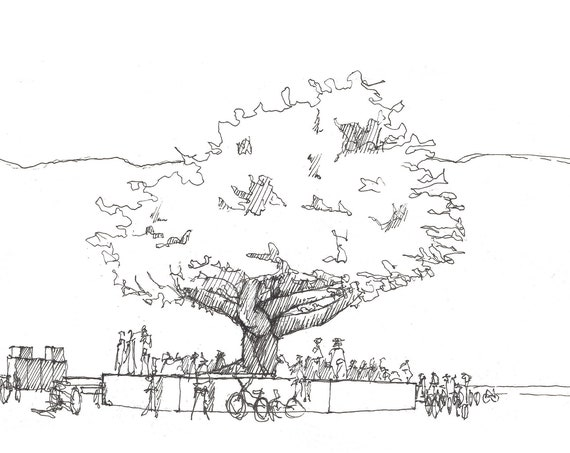 BLACK ROCK CITY - Tree of Tenere, Interactive Art, Playa, Pen and Ink, Drawing, Sketchbook, Art, Print, Drawn There