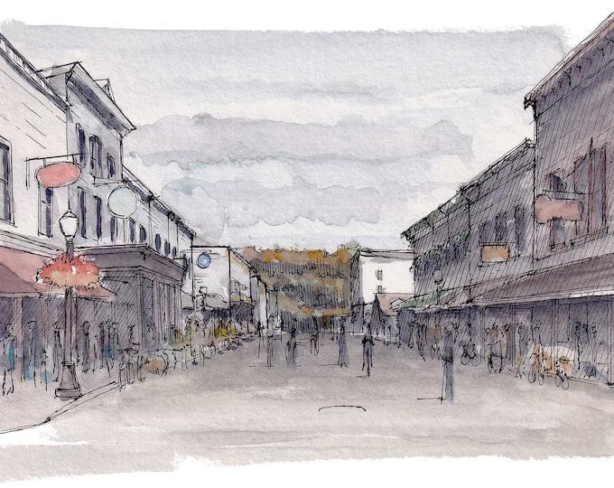 MACKINAC ISLAND MICHIGAN - Lake Shore Drive, Mackinaw, Fudge, Great Lakes, Plein Air Ink and Watercolor Painting, Drawing, Art, Drawn There
