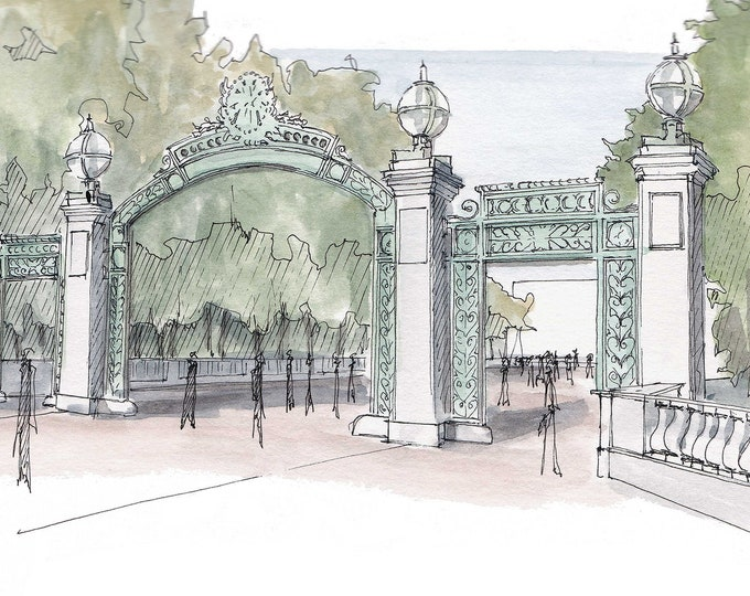 UC BERKELEY Sather Gate -  Ink and Watercolor, Art, Drawing, Architecture, Painting, Architecture, Campus, College, University, Drawn There