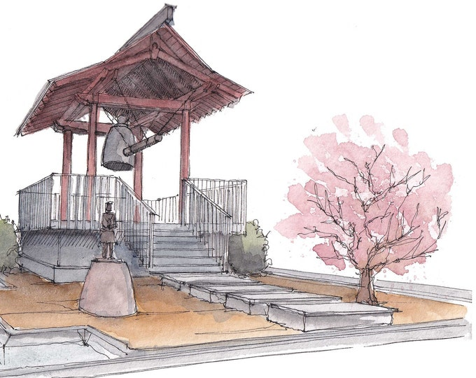 JAPANESE FRIENSHIP BELL - Shelter Island, San Diego, Pavilion Architecture, Drawing, Plein Air Watercolor Painting, Art, Drawn There