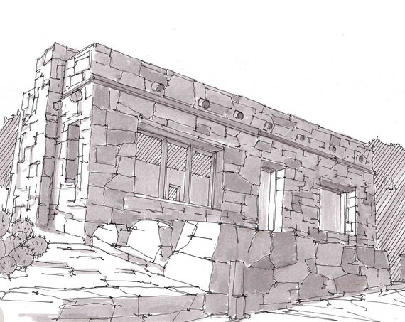 STONE BUILDING RUINS at Big Bend National Park, Texas - Historic Architecture, Pen and Ink, Drawing, Sketchbook, Art, Drawn There