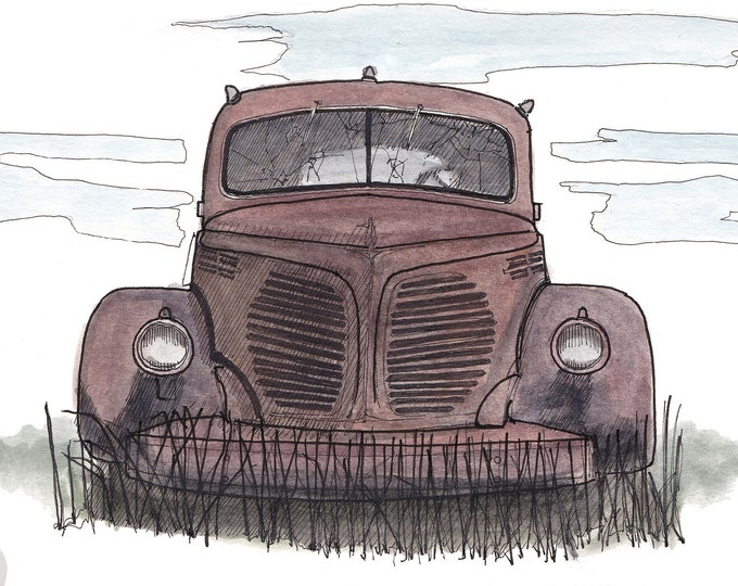 JUNKYARD CAR- Classic Car, Rust, 1940's, Abandoned, Rusty, Old, Art Print, Line Drawing, Art, Pen and Ink, Drawing, Sketchbook, Drawn There