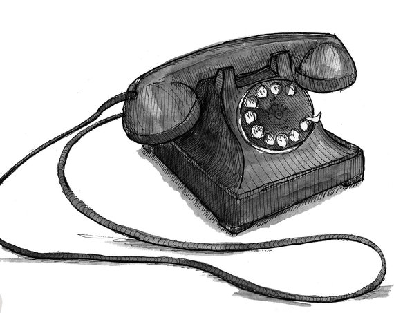 VINTAGE ROTARY TELEPHONE - Phone, Western Electric Model 302, Drawing, Pen and Ink, Painting, Sketchbook, Art, Print, Drawn There