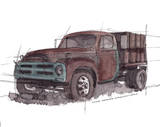 VINTAGE STUDEBAKER PICKUP - Rusty Truck, Farm Truck, Classic, Rusty, Ink and Watercolor Drawing, Painting, Giclee Art Print, Drawn There