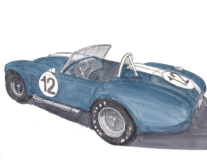SHELBY COBRA 456 - Sports Car, Classic Car, Vintage, Drawing, Watercolor Painting, Art Print, Drawn There