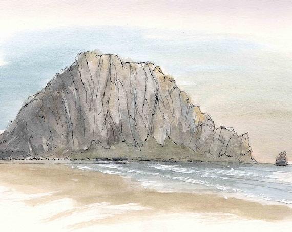 MORRO ROCK - Morro Bay, California, Beach, Ocean, NorCal, Volcanic Plug, Drawing, Watercolor Painting, Sketchbook, Art, Print, Drawn There