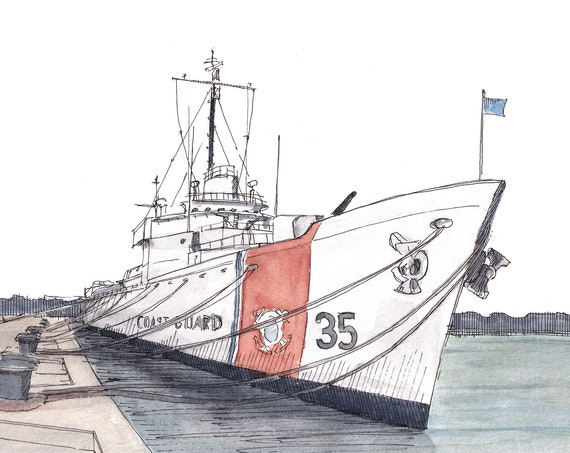 COAST GUARD CUTTER - uscgc ship, Key West, Florida, Museum, Drawing, Ink and Watercolor Nautical Painting, Art, Giclee Print, Drawn There
