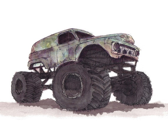 MONSTER TRUCK - Grave Digger, Grandma, 4x4, Drawing, Ink and Watercolor Painting, Plein Air, Sketchbook, Art Print, Drawn There